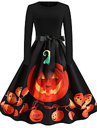 cheap -Dress Adults' Women's Vintage Halloween Halloween Festival / Holiday Cotton / Polyester Blend Orange Women's Carnival Costumes Pumpkin