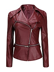 cheap -Women's Daily Fall & Winter Regular Leather Jacket, Solid Colored Turndown Long Sleeve PU Wine