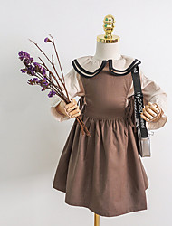 cheap -Kids Girls' Cute Solid Colored Dress Brown