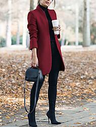 abordables -Femme Quotidien Longue Manteau, Couleur Pleine Mao Manches Longues Polyester Vin / Gris / Kaki