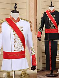 cheap -Prince Retro Vintage Medieval Coat Pants Outfits Masquerade Men's Costume Hat Black / White Vintage Cosplay Party Long Sleeve Pantsuit / Jumpsuit / Sash / Ribbon / Sash / Ribbon