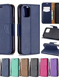 Недорогие -Кейс для Назначение Apple iPhone 11 / iPhone 11 Pro / iPhone 11 Pro Max Кошелек / Бумажник для карт / со стендом Чехол Однотонный Кожа PU