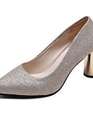 Недорогие -Жен. Обувь на каблуках На толстом каблуке Заостренный носок Искусственная кожа Лето Черный / Золотой / Серебряный