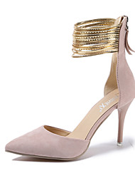 cheap -Women's Heels Stiletto Heel Pointed Toe Suede / PU Fall / Spring & Summer Black / Pink / Party & Evening / 3-4 / Party & Evening