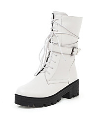 cheap -Women's Boots Chunky Heel Round Toe PU / Synthetics Mid-Calf Boots Fall & Winter Black / White