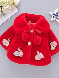 Недорогие -малыш Девочки Классический Однотонный Рождество Меховая оторочка Короткая Костюм / блейзер Белый / Дети (1-4 лет)