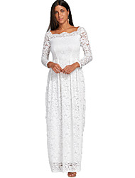 cheap -Women's White Dress Elegant Formal Party & Evening Shift Solid Colored Square Neck Lace S M