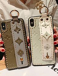 Недорогие -чехол для яблока iphone xs / iphone xr / iphone xs max / 7 8 plus / 6splus / 6s рельефная задняя крышка цветок натуральная кожа