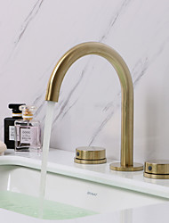 cheap -Bathroom Sink Faucet - Widespread Brushed Gold Widespread Two Handles Three HolesBath Taps