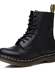 cheap -Men's Combat Boots Cowhide Fall & Winter Casual / British Boots Walking Shoes Warm Black / Burgundy