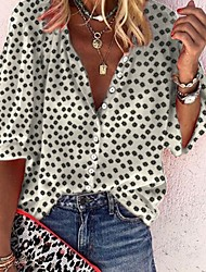 cheap -Women's Polka Dot Shirt Daily Shirt Collar Wine / White / Black / Yellow / Green