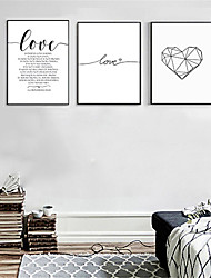 cheap -Print Rolled Canvas Prints - Hearts Words & Quotes Modern Three Panels Art Prints