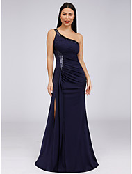 cheap -A-Line Elegant Furcal Formal Evening Dress One Shoulder Sleeveless Floor Length Sequined Jersey with Sequin Side Draping Split Front 2020