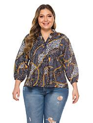 cheap -Women's Geometric Loose Shirt Vintage Daily Club V Neck Black