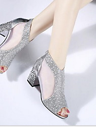 cheap -Women's Sandals Glitter Crystal Sequined Jeweled Chunky Heel Peep Toe Linen Summer Gold / Silver