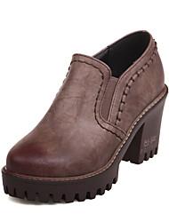 cheap -Women's Heels Chunky Heel Round Toe PU Vintage / British Fall & Winter Black / Brown / Red