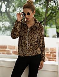 cheap -Women's Daily Regular Jacket, Leopard Turndown Long Sleeve Polyester Brown
