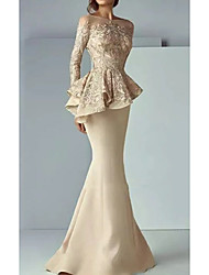 cheap -Mermaid / Trumpet Illusion Neck Sweep / Brush Train Satin Peplum / Gold Formal Evening / Wedding Guest Dress with Lace Insert 2020