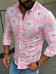 cheap -Men's Floral Patchwork Print Shirt Basic Street chic Daily Standing Collar Blushing Pink / Green / Navy Blue / Long Sleeve