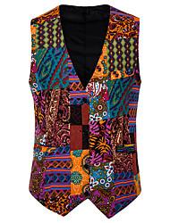 cheap -Men's Vest Shawl Lapel Cotton Orange