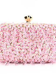 cheap -Women's Sequin / Chain Polyester Evening Bag Color Block Black / White / Blushing Pink