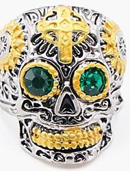 cheap -Men's Ring 1pc Gold Imitation Diamond Alloy irregular Vintage Punk Trendy Daily Jewelry Vintage Style Cross Skull
