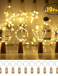 cheap -12pcs 20 LED Wine Bottle Lights Copper Wire Fairy String Light Warm White Bottle Stopper Atmosphere Lamp for Christmas Xmas Holiday Festival DIY Home Party Decoration Present Gift
