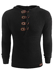 cheap -Men's Solid Colored Long Sleeve Pullover Sweater Jumper, Hooded White / Black / Army Green US32 / UK32 / EU40 / US34 / UK34 / EU42 / US36 / UK36 / EU44