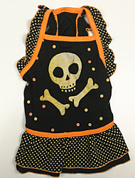 cheap -Dogs Cats Pets Dress Dog Clothes Black Halloween Costume Polyster Skull XS M