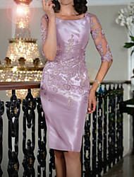 cheap -Sheath / Column Scoop Neck Knee Length Satin Half Sleeve Plus Size Mother of the Bride Dress with Appliques 2020
