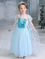 cheap -Cinderella Princess Elsa Dress Flower Girl Dress Girls' Movie Cosplay A-Line Slip Halloween Christmas Blue Dress Halloween