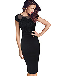 cheap -Women's Shift Dress - Short Sleeve Solid Colored Lace Lace Trims Elegant Sophisticated Evening Party Office & Career Black S M L XL XXL XXXL