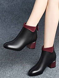 cheap -Women's Boots Chunky Heel Round Toe PU Booties / Ankle Boots Minimalism Fall & Winter Black / Color Block