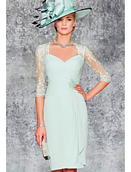 cheap -Sheath / Column V Neck Knee Length Chiffon / Lace Half Sleeve See Through / Elegant Mother of the Bride Dress with Beading / Ruching 2020