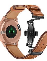 cheap -Watch Band For Garmin Vivomove HR Black Butterfly Buckle Fashion Genuine Leather Strap Bracelet Belt