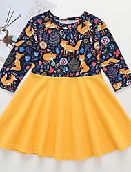 cheap -Toddler Girls' Active Animal Halloween Print Long Sleeve Above Knee Dress Yellow