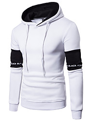 cheap -Men's Hoodie Solid Colored Hooded Basic Slim White Black US32 / UK32 / EU40 US34 / UK34 / EU42 US36 / UK36 / EU44 US40 / UK40 / EU48