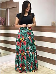 cheap -Women's Dress Party & Evening Boho Street chic Shift Little Black Swing Dress - Striped Geometric Color Block Patchwork Print Black White Blushing Pink S M L XL