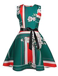 cheap -Kids Girls' Active Sweet Floral Sleeveless Knee-length Dress Green