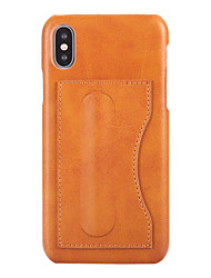 cheap -Case For Apple iPhone XS / iPhone XR / iPhone XS Max Card Holder / Ultra-thin Back Cover Solid Colored PU Leather / PC