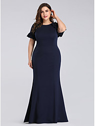 cheap -Mermaid / Trumpet Plus Size Blue Wedding Guest Formal Evening Dress Jewel Neck Short Sleeve Floor Length Lace Polyester with Ruffles Lace Insert 2020