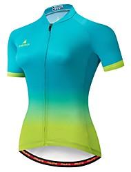 abordables -Miloto Femme Manches Courtes Maillot Velo Cyclisme Vert / jaune. Pente Cyclisme Maillot VTT Vélo tout terrain Evacuation de l'humidité Bandes Réfléchissantes Poche arrière Des sports Hiver 100