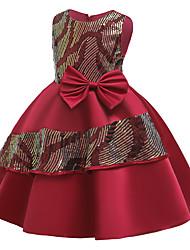 cheap -Kids Girls' Basic Cute Color Block Sequins Bow Patchwork Sleeveless Knee-length Dress Black