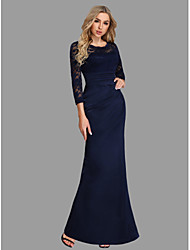 cheap -Sheath / Column Jewel Neck Floor Length Chiffon / Lace Minimalist / Blue Formal Evening / Wedding Guest Dress with Lace Insert 2020 / Illusion Sleeve