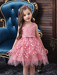 cheap -Princess Knee Length Flower Girl Dress - Lace / Tulle Sleeveless V Neck with Beading / Embroidery / Sash / Ribbon