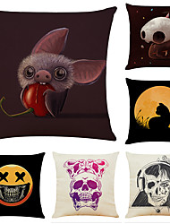 cheap -Set of 6 Halloween Party Linen Square Decorative Throw Pillow Cases Sofa Cushion Covers 18x18