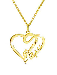 cheap -Personalized Customized Necklace Name Necklace Heart Gift Daily Holiday Heart Shape 1pcs Gold / Laser Engraving