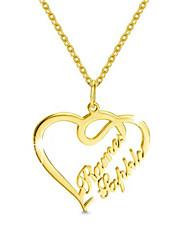Недорогие -Персонализированные Индивидуальные Цепочка Имя Ожерелье Сердце Подарок Повседневные Праздники Heart Shape 1pcs Золотой / Лазерная гравировка