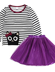 cheap -Baby Girls' Active Basic Striped Solid Colored Print Long Sleeve Regular Regular Clothing Set White