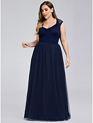 cheap -A-Line V Neck Floor Length Lace / Tulle Bridesmaid Dress with